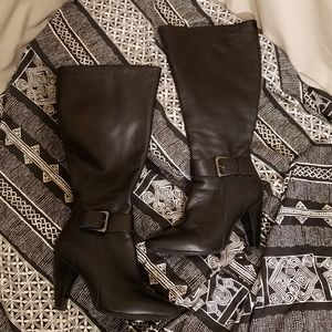 Type Z Black Leather Knee High Boots